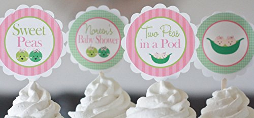 12 - Twins Sweet Pea, Pea in the Pod, Two Peas in a Pod Theme Shower Cupcake Toppers - Green & Pink - Favor Tags, Banners, Door Signs (Sweet Pea Baby Shower Cake)