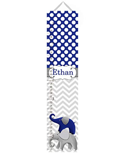 Canvas GROWTH CHART Navy and Grey Chevron Elephant Girls Kids Bedroom Baby Nursery Wall Art GC0013