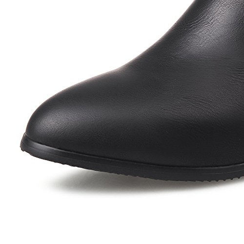 Allhqfashion Mujeres Low-heels Redondo Cerrado Pu Botas De Cremallera Sólida De Baja Costura, Black-metal Nail, 41
