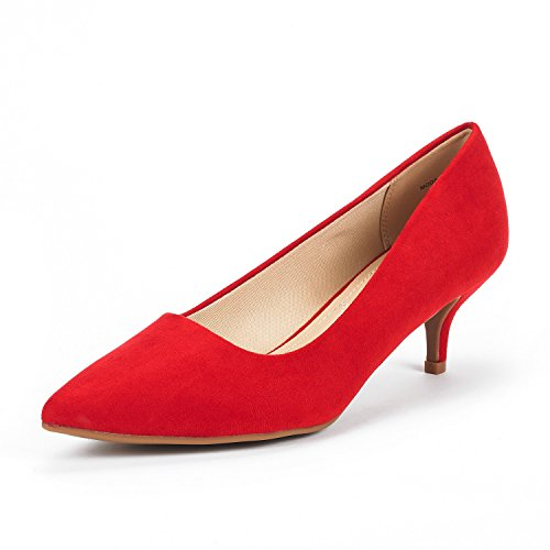 DREAM PAIRS Women's Moda Red Suede Low Heel D'Orsay Pointed Toe Pump Shoes Size 5 M US (Zapatos De Moda)
