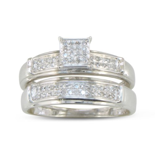 1/5ct Diamond Micropave Diamond Bridal Engagement Set in Sterling Silver