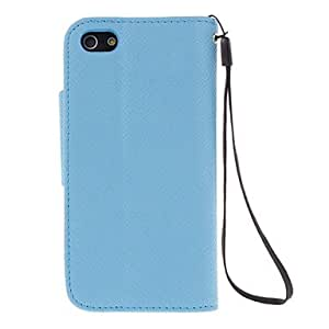 Quality Cross Pattern Full Body Case with Stand and Card Slot for iPhone 5C (Assorted Colors) --- COLOR:Black
