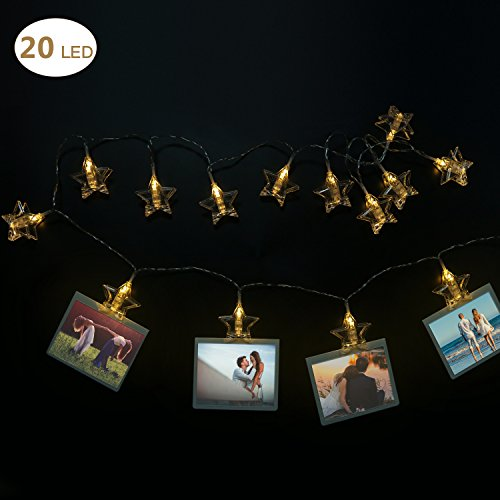 LED Photo Clip String Light - 20 Photo Clips Elegant Star LED Picture Lights with 2 Modes Good for Small Spaces Portable(Warm White) (USB Powered) (Greaser Costume Ideas)