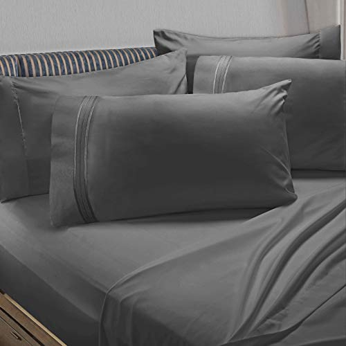 Clara Clark Premier 1800 Collection 6pc Bed Sheet Set with Extra Pillowcases - King, Charcoal Stone Gray (Mattress Set Product Premiere)