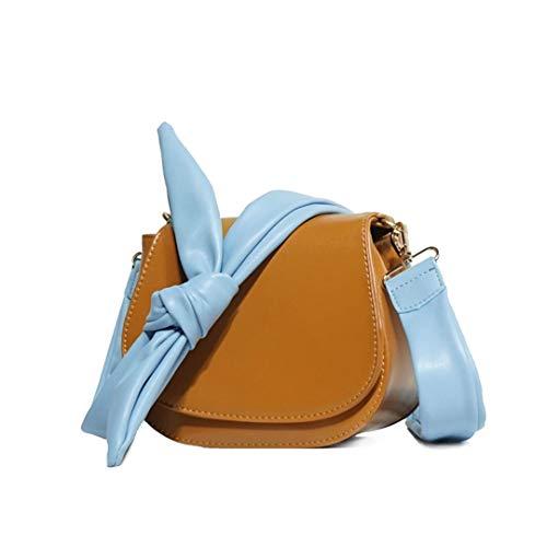 Bow Bag Shoulder Messenger Bag Saddle Bag Covered Pouch Wide Shoulder brown 18x8x15cm