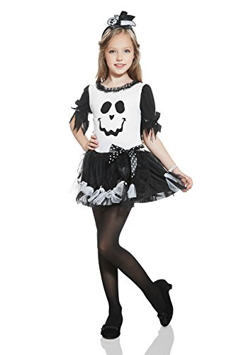 Kids Girls Friendly Little Ghost Costume Spooky Scary Spirit Halloween Dress Up (3-6 years, Black/White) (Cute Little Girl Costumes Ideas)