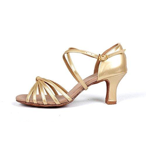 YFF Las mujeress Ballroom América tango baile zapatos de tacón Venta Pu/satinado PU Gold
