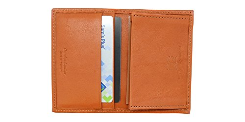 Cognac Genuine Nappa Calf Leather Gusseted Business/Credit Card Case – Slim Front Pocket Wallet - Gift Box – Factory Direct - Made in USA by Real Leather Creations (Leather Gusseted Card Case)