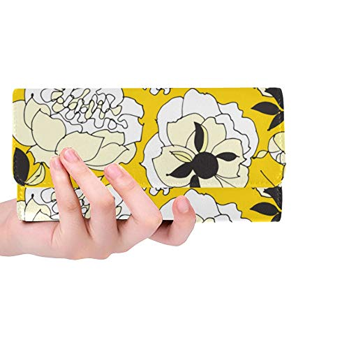 Unique Custom Tender Spring Peonies Yellow Women Trifold Wallet Long Purse Credit Card Holder Case Handbag