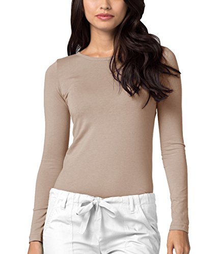 Sheer Jersey Tee Sleeve Long (Adar Womens Comfort Long Sleeve T-Shirt Underscrub Tee - 2900 - Khaki - S)
