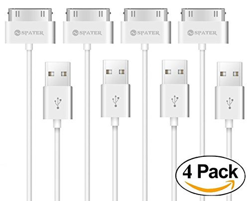 iPhone 4s Cable, Spater 30-Pin USB Sync and Charging Data Cable for iPhone 4/4S, iPhone 3G/3GS, iPad 1/2/3, and iPod (5 Feet/1.5 Meter) (4-Pack) (WHITE) (4s Apple Cord)