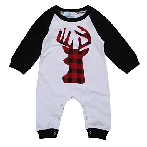 Unisex Newborn Baby Boys Girls Christmas Romper Long Sleeve Lattice Deer Jumpsuit (12-18M, Black)