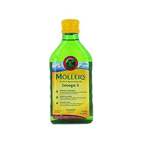 Möllers - Aceite de hígado de bacalao con omega 3 con sabor a limón - Para niños y adultos