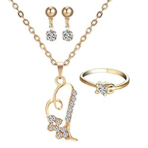 Myhouse Earrings Love Necklace Ring Accessories 3pcs/Set for Women Jewelry