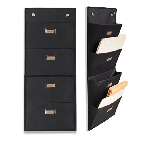 Cheap Wallniture Archivo Hanging File Folder Holder – Document Organizer with Label Tabs 4-Sectional Canvas Black (2)