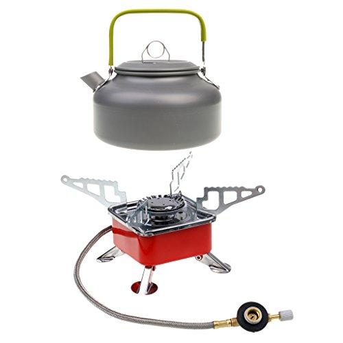 Flameer Estufa De Gas Portátil Plegable Ultraligero + Tetera De Agua Picnic Cooking Camping