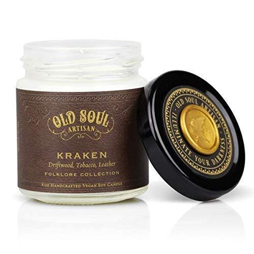 Kraken - Driftwood, Tobacco, Leather Candle Scented Soy Norse Mythology Sea Monster Cthulhu - 4 oz ()
