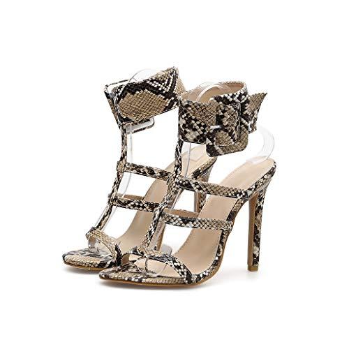 Sandales Poisson De Talon Antidérapant Sexy Serpent Femmes Boucle Madame Fin Bouche Chaussures Biege Mot Haut pZ8qpr