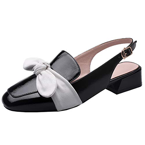 Artfaerie Womens Slingback Loafers with Bow Low Heel Patent Leather Pumps (US 6, Black)