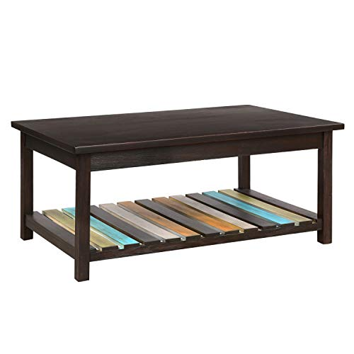 M&W Rustic Wood Coffee Table, Cocktail Table for Living Room, Rectangular, Colorful Finish