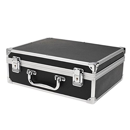 WINOMO Large Tattoo Machine Case Aluminum Kit Carrying Storage with Lock (Black)