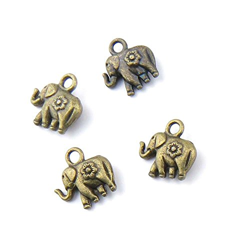 10 pieces Anti-Brass Fashion Jewelry Making Charms 1424 Baby elephant Wholesale Supplies Pendant Craft DIY Vintage Alloys Necklace Bulk Supply Findings ()