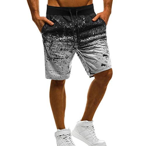 Seaintheson Men's Fitness Printed Drawstring Shorts Casual Sport Gradient Shorts Gray from Seaintheson