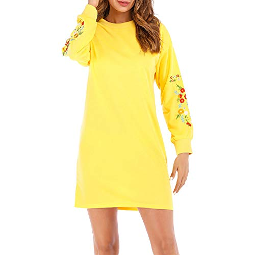 Liraly Womens Dresses, Ladies Autumn Winter Casual Long Sleeve Floral Embroidery Sweatshirt Dress(Yellow,US-10 /CN-XL)