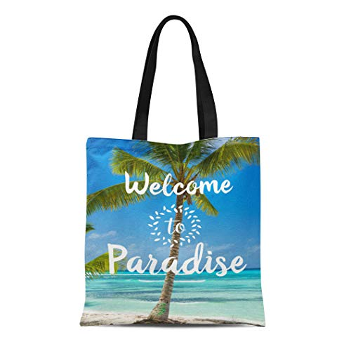 Semtomn Cotton Line Canvas Tote Bag Blue Palm Tropical Beach Welcome to Paradise Tree Photograph Reusable Handbag Shoulder Grocery Shopping Bags