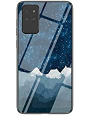 Miagon Glass Case for Samsung Galaxy Note 20,Sky Series 9H Tempered Glass Hard Back Cover with Soft Silicone Frame Bumper Protective Case,Blue