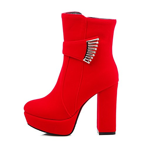 Chunky Girls amp;N Buckle Heels Red Boots Frosted Platform A Tw6qx5Zw