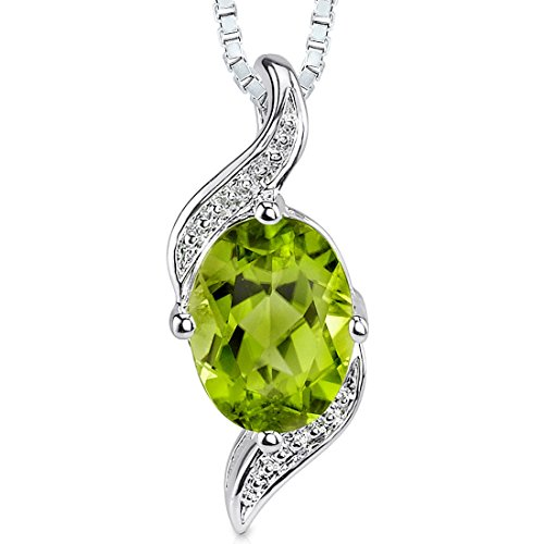 (Peridot Pendant Necklace Sterling Silver Oval Shape 1.25 Carat)