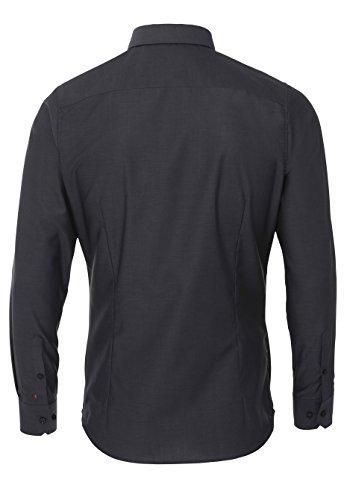 PURE Slim Fit Hemd Langarm ohne Brusttasche New Kent Kragen dunkelgrau