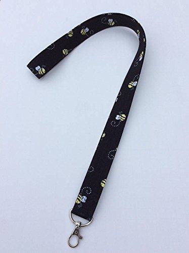 Black Bees Lanyard ID Badge Key Holder Keeper Fabric Yellow