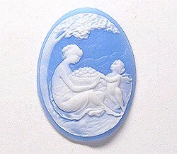 40x30mm Oval Fashion Cameo Mother and (Angel Oval Cameo Pendant)