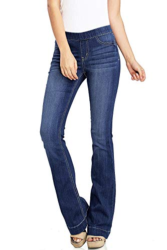 Cello Women's Juniors Mid Waist Skinny Fit Bootcut Pants Dark Denim