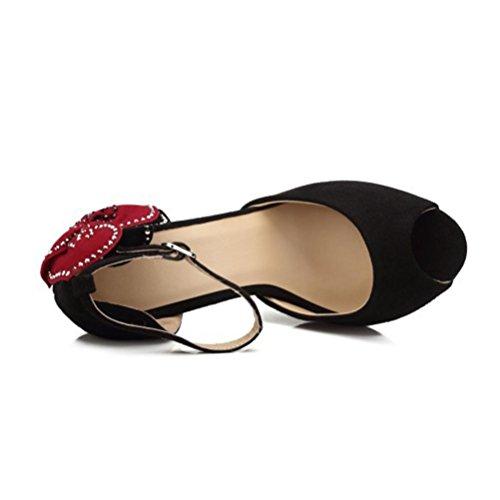 Sandales Fine Femme Femmes Taille Strass Bouche Hauts Talons Sandales Roman Femmes Talon noir Boucle Parti Chaussures QPYC Grande Poissons Fleurs Chaussures wq8zd6w5