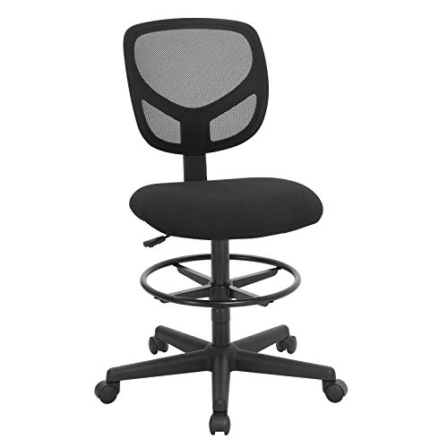 SONGMICS Mesh Drafting Stool Chair, Reception Office Desk Chair, Tall Standing Swivel Chair with Adjustable Foot Rest, Fabric Seat, Black UOBN15BK
