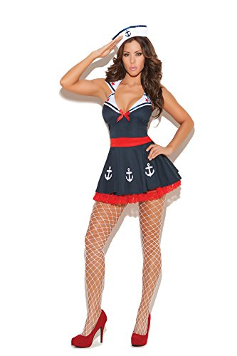 Sexy Sailors Costumes (Sexy Women's Sailor's Delight Nautical Adult Roleplay Costume, Medium, Navy)