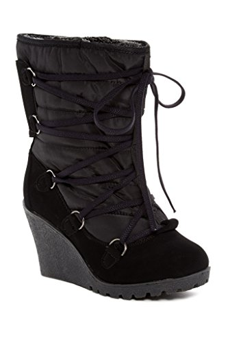 - Carrini CA Collection Womens Fashion Faux Shearling Lined Lace-Up Wedge Booties, Black, Size 8, US