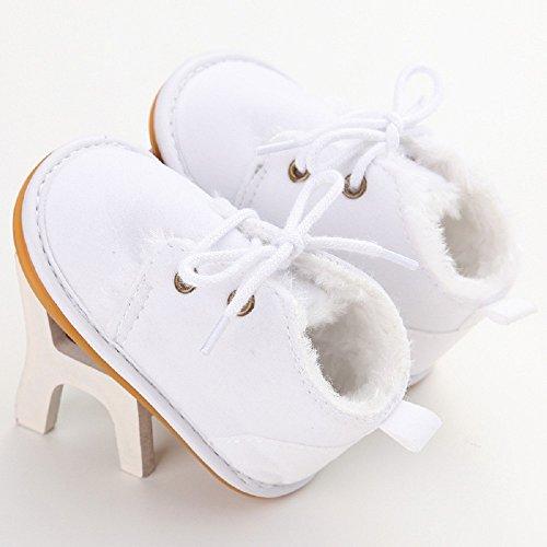 Zapatos de bebé Auxma Zapatos de bebé, Bebé niño infantil nieve Botas zapatos suela de goma cuna Prewalker Blanco