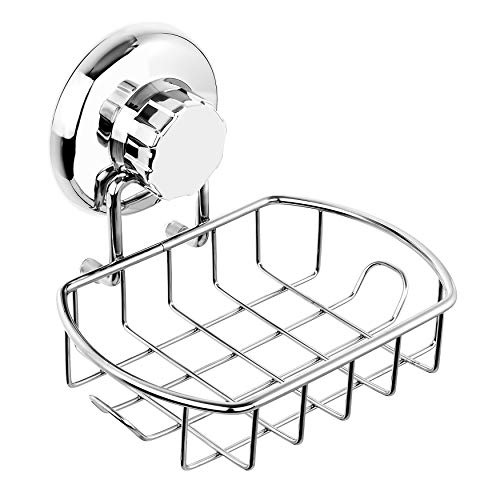 Hasko Accessories Suction Soap Dish With Hooks Powerful Vacuum Suction Cup Soap Holder Soap Basket Sponge Holder For Bathroom Kitchen Polished Stainless Steel Ss304