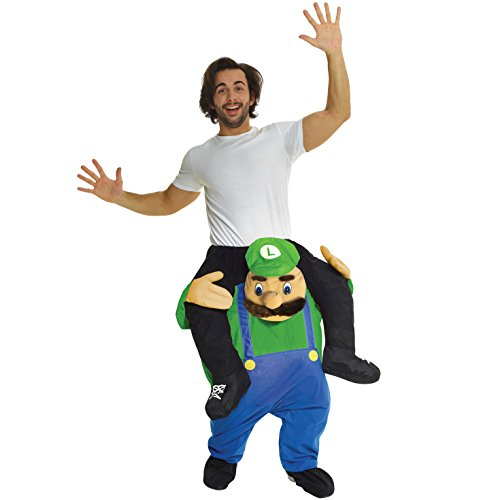 Luigi Costumes Mens (Unisex Piggy Back Green Plumber Piggyback Costume - With Stuff Your Own Legs)