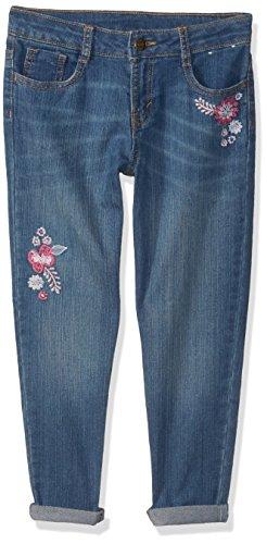 Gymboree Girls' Big Boyfriend Jeans, Medium wash Embroidered Flower, 7