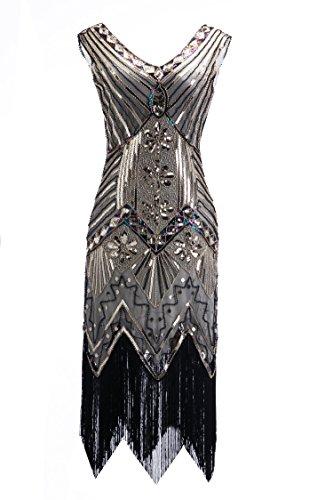 Silver 1920s Dress (Clothin Womens 1920s Sequin Flapper Dress Gatsby Party(2XL,gold+silver-Q2))