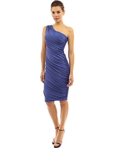 PattyBoutik Women One Shoulder Cocktail Dress (Medium Sapphire Blue Medium)
