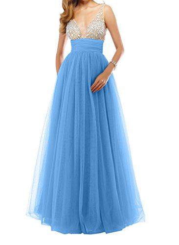 linie Blau Tanzenkleider Abendkleider Charmant Prinzess A Rock Steine Brautmutterkleider Damen Tuell Promkleider Langes xqqwvf76F