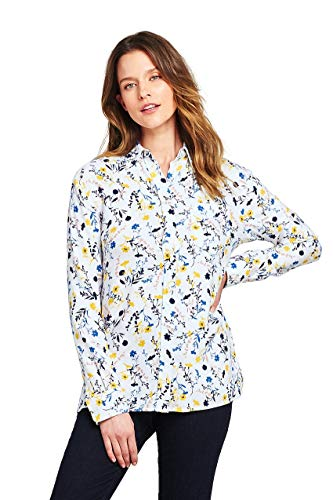 Lands' End Women's Petite Brushed Rayon Collared Shirt, 16, White Tossed Floral