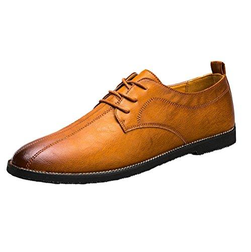 LYZGF Hommes Jeunes Casual Business Mode Saisons Lacets Chaussures en Cuir Brown