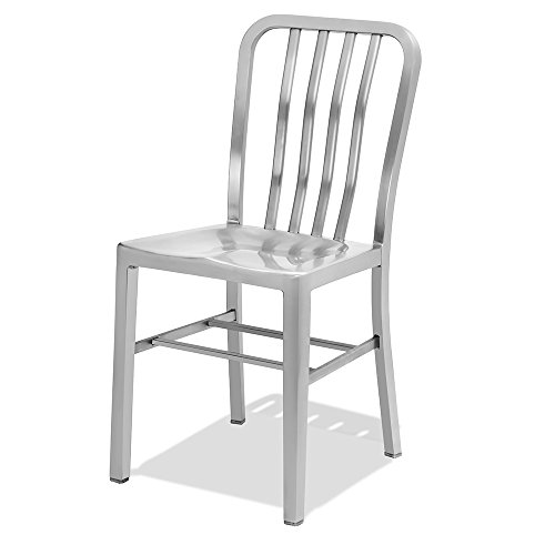 CHAIR DEPOTS Kupa Stainless Steel Chair, Satin Brushed Finish, 1 Pack